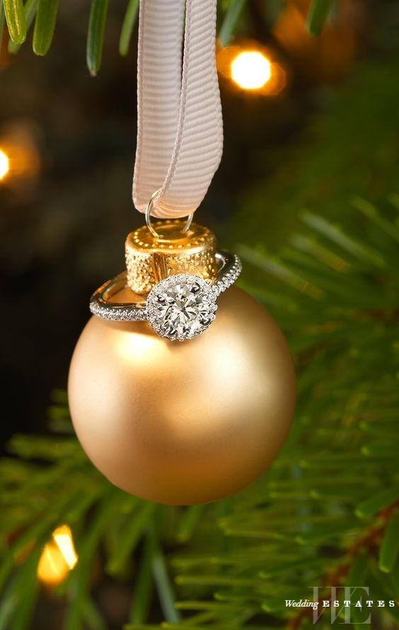 surprise her while decorating the tree with a beautiful engagement ring merry christmas to her and happy new years to him use the ring box as an ornament - Christmas Ornament Ring Box